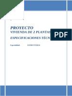 Especificaciones Tecnicas Vivienda de 2 Plantas