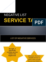 Negative List of service tax