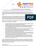 2014 FastMed Althetic Injury Advisory for Parents and Coaches of Child Athletes in Arizona