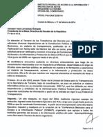 Oficio de Ángel Trinidad Zaldívar al Presidente de la Mesa Directiva del Senado.