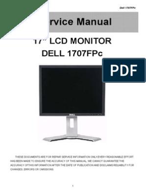 "17"" Lcd Monitor Dell 1707Fpc: Service Manual"