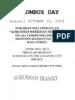 Columbus Day schedule