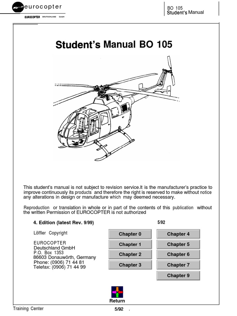bo 105 a student u00b4s manual B0 105 Helicopter MBB 105 Helicopter