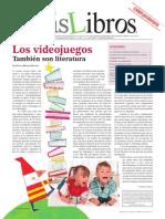 """""""Los videojuegos también son literatura"""" en Revista MásLibros Año 4 #20 (Diciembre 2013"""