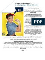 Official Manifesto - Sara Lloyd-Knibbs for CUSU Democracy & Campaigns Officer 2014/15