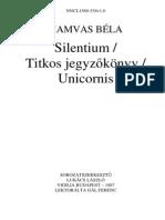 Hamvas Bela - Silentium -Titkos Jegyzokonyv - Unicornis