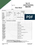 Date-Sheet Std.-xi Annual Examination