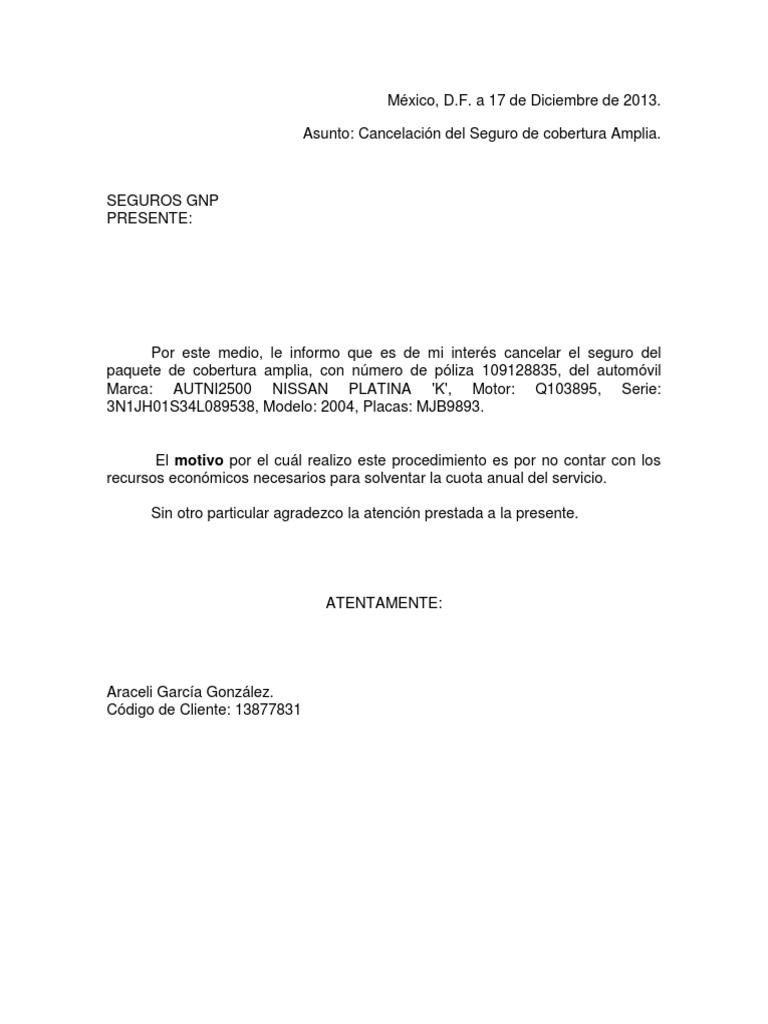 cartas de cancelacion de seguros Carta de Cancelacion Seguros Gnp 2013