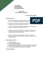 Plan del curso. Historia de México III. Siglo XX