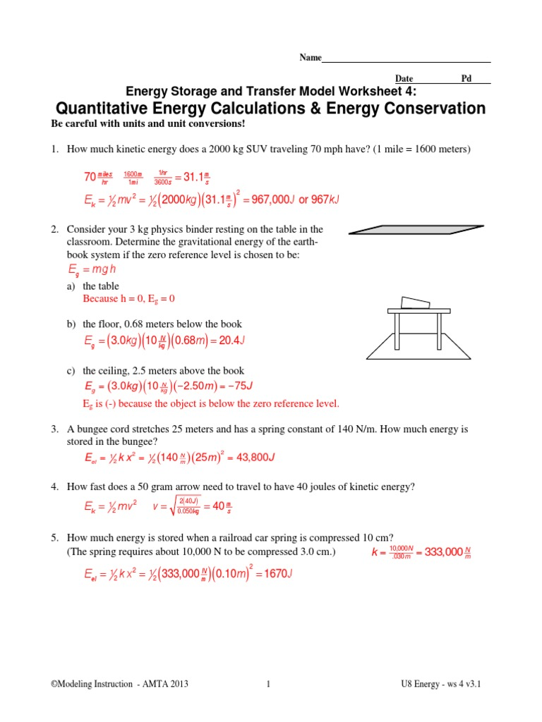 Conservation Of Energy 1 Worksheet Answers worksheet – Energy Worksheet Answers