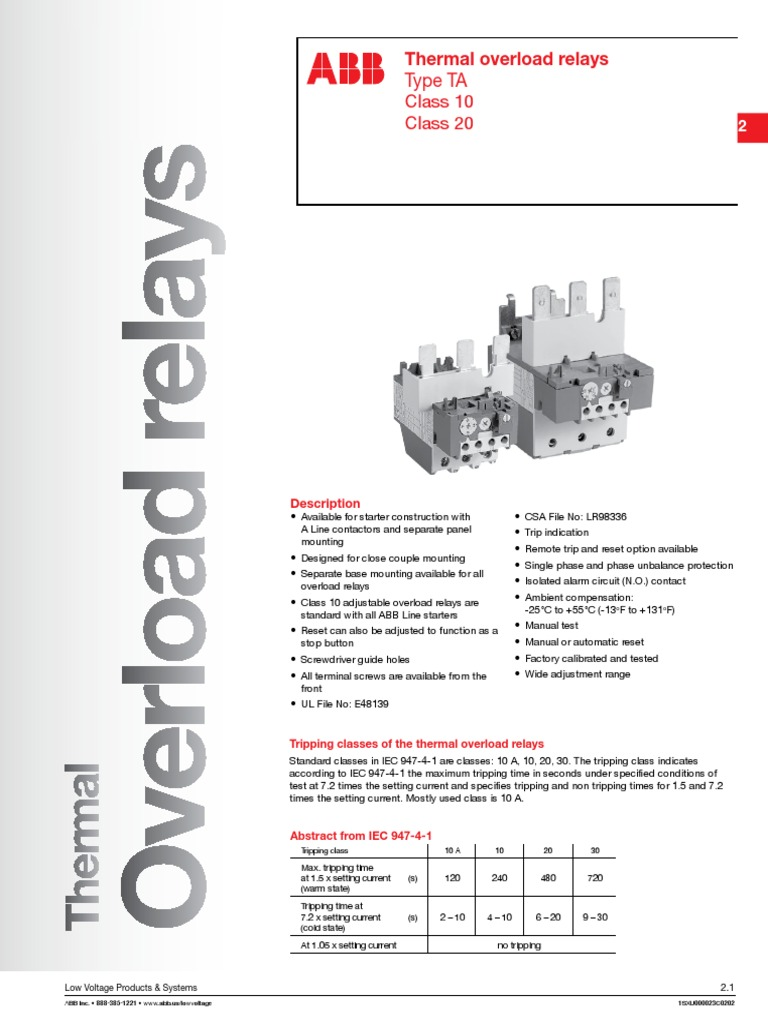 Abb Ta110du Wiring Diagram Electrical Diagrams Motor Starter Tor Relay Fuse Furnas
