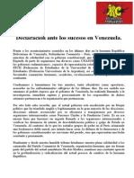 Declaración ante los sucesos en Venezuela