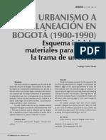 Del Urbanismo a La Planeacion en Bogota