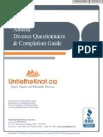 Alberta Divorce Questionnaire Guide UTK1