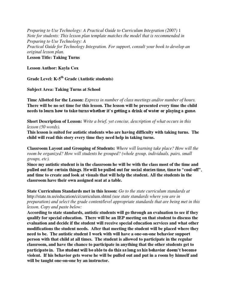 Edtech 506 Lesson Plan Asg8cx Lesson Plan Special Education