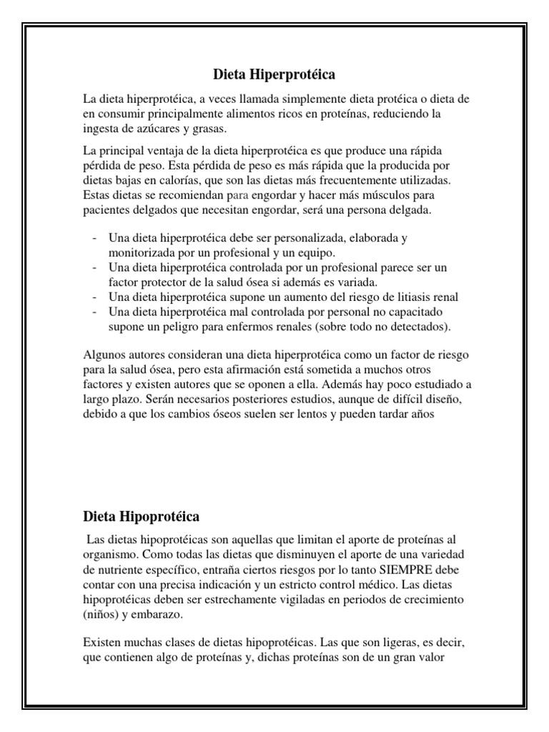 Que es la dieta hipoproteica pdf