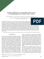 Elastic Properties of Granulite Facies Rocks of Mahabalipuram, Tamil Nadu, India