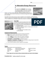Assignment - Energy Resource Project Student
