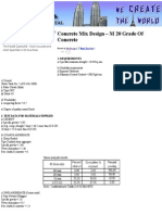 Concrete Mix Design – M 20 Grade Of Concrete