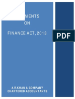Comments on Finance Act 2013