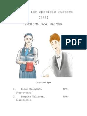 English for Specific Purpose for WAITER | Tableware | Restaurants