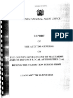 Report Of The Auditor General On The County Government Of Machakos And Its Defunct Local Authorities 1Jan- 30June 2013