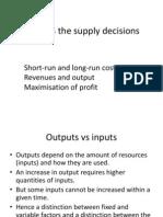 Economics Supply Decisions