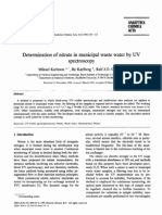 Determination of Nitrate in Municipal Waste Water by UV Spectroscopy