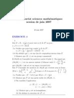 امتحان الباكالوريا علوم رياضية بالفرنسية 2007