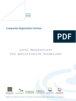 Local Manufacturer Prequalification Guidelines