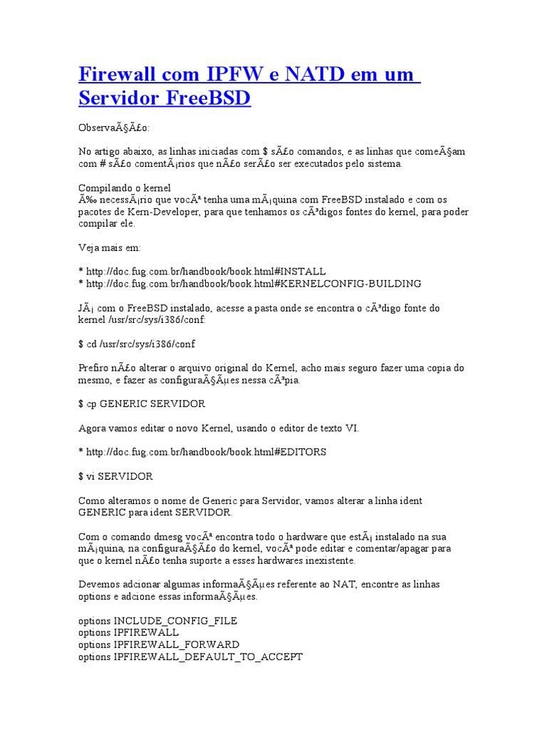 Firewall Com IPFW e NATD Em Um Servidor FreeBSD