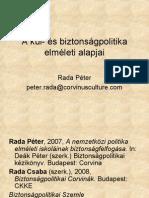 A kül- és biztonságpolitika elméleti alapjai előadás