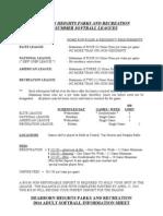ADULT SOFTBALL INFORMATION SHEET 2014