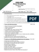 Grade VIII - Science Annual Exam