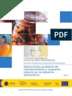 Operaciones Auxiliares de Mantenimiento y Transporte Interno en la Industria Alimentaría I. José Antonio Peñafiel Vásquez. Licenciado en Educación en Industrias Alimentarías