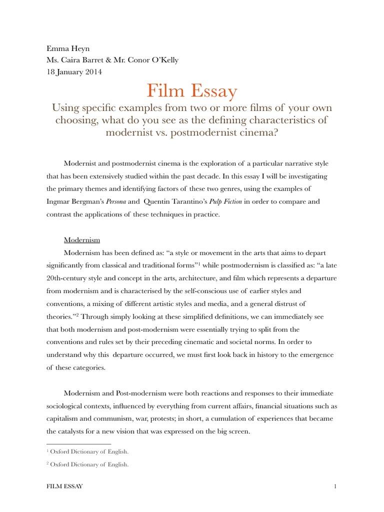 essay on modernism basic resume objective film essay pulp fiction postmodernism v film essay