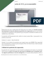 Partición de recuperación de OS X, ¿es recomendable eliminarla