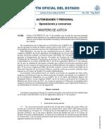 Orden JUS 1959 2013 de 17 de Octubre de Convocatoria de Las Pruebas Selectivas.