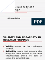 Validity & Reliability of a Study