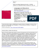 Eyond Linguistic Purism in Language-In-education Policy and Practice-Exploring Bilingual Pedagogies in a Hong Kong Science Classroom