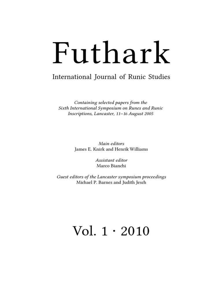Futhark Runic Studies Journal | Runes | Epigraphy