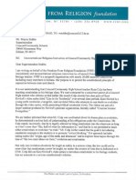 Freedom From Religion Foundation letter, Feb. 18, 2014