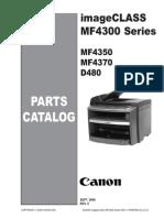 Canon Imageclass D480, MF 4300, 4350D, 4370DN Parts Manual
