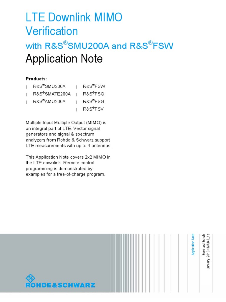 LTE Downlink Mimo Verification Application Note   Mimo
