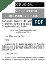 Aranceles judiciales 2014