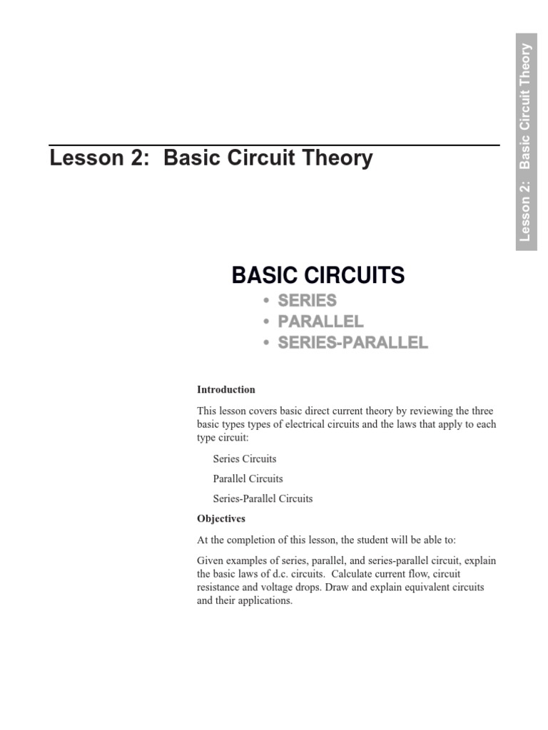 Basic Circuit Theory Series And Parallel Circuits Electrical Network What Are