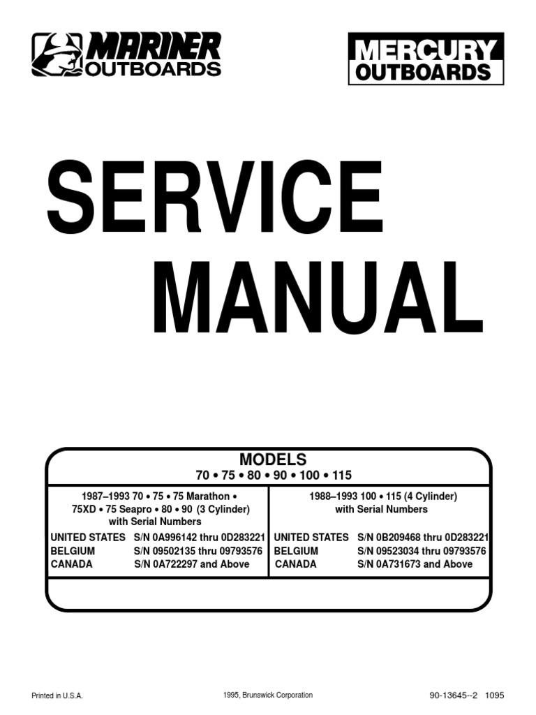 outboard manual 70 75 80 90 100 115 ignition system internal rh scribd com 88 Mercury Grand Marquis 86 Mercury Capri