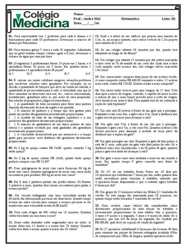 405847bf2 Andr Mal - Lista 02 Medicina - Regra de Tres