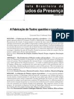 A fabricação do teatro - questões e paradoxos - Josette Feral