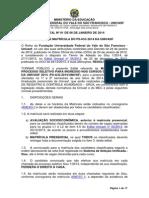 PS ICG 2014 Edital Univasf n 1 Ed Matricula PS ICG 2014